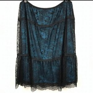 Sundance Blue and Black Lace Skirt